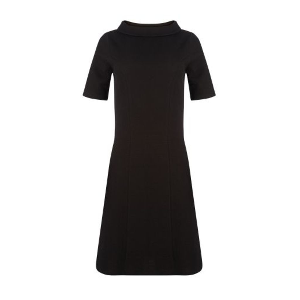 Black Textured Bardot Neck Dress