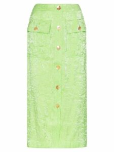 Rejina Pyo crinkle effect high-waisted button-down midi skirt - Green