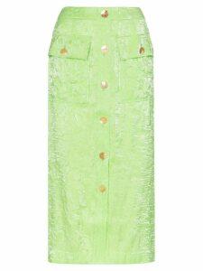 Rejina Pyo crinkle effect high-waisted button-down midi skirt - Green