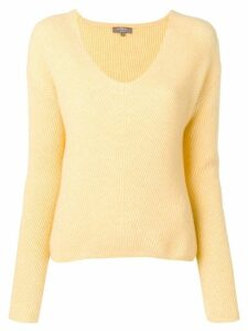 N.Peal ribbed v-neck jumper - Yellow