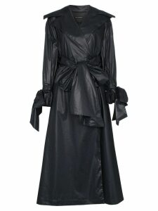 Vika Gazinskaya bow detail cotton trench coat - Black