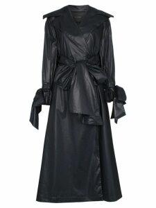 Vika Gazinskaya bow detail cotton trench coat - Black