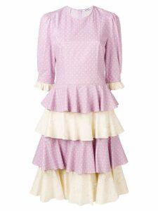 Batsheva tiered ruffle skirt dress - Purple