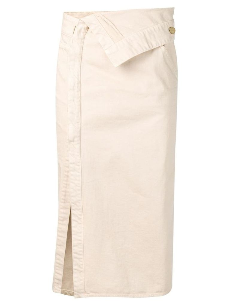 Jacquemus asymmetric waist denim skirt - Neutrals