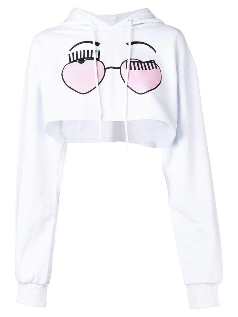 Chiara Ferragni Flirting cropped hoodie - White