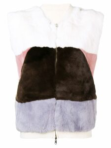 N.Peal reversible cashmere gilet - White