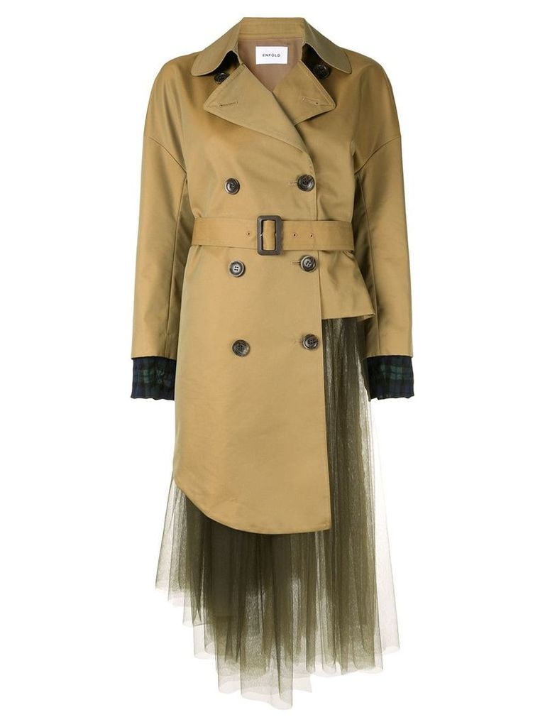 Enföld double-breasted tulle coat - Brown