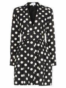 Rebecca De Ravenel polka dot belted silk dress - Black
