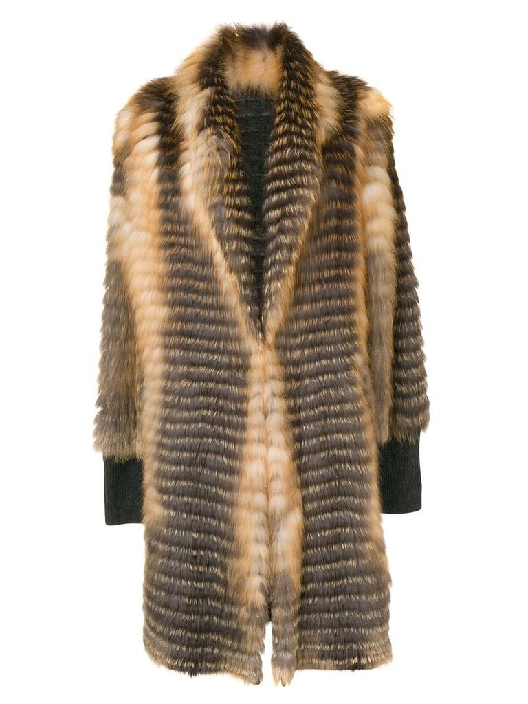 Liska striped single-breasted coat - Brown