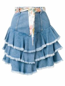 Zimmermann high rise tiered denim skirt - Blue
