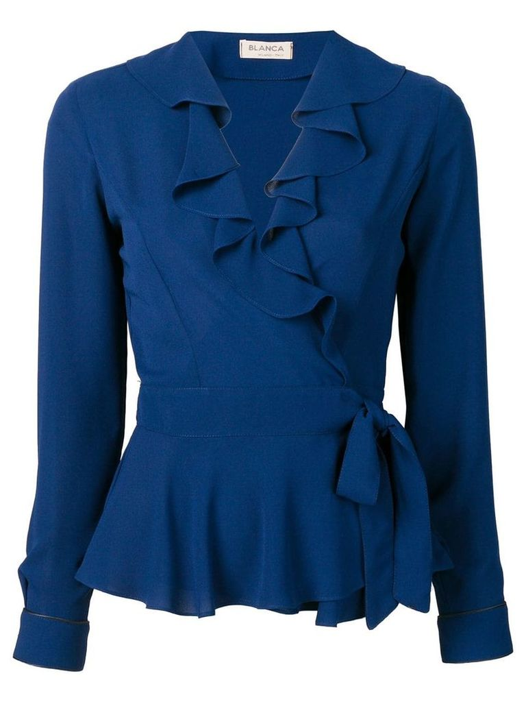 Blanca ruffled wrap blouse - Blue