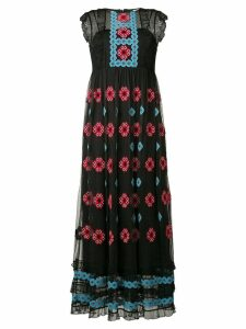 Red Valentino embroidered mesh maxi dress - Black