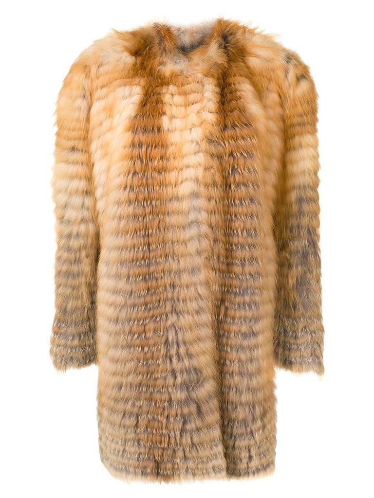 Liska striped textured coat - Brown