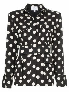 Rebecca De Ravenel polka dot safari silk jacket - Black