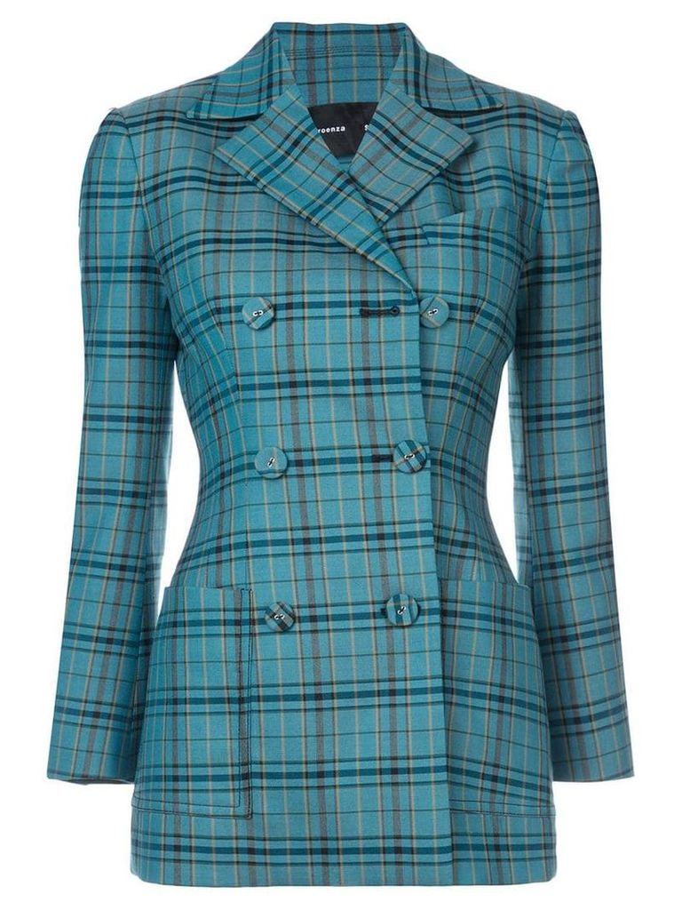 Proenza Schouler Plaid Double Breasted Blazer - Blue