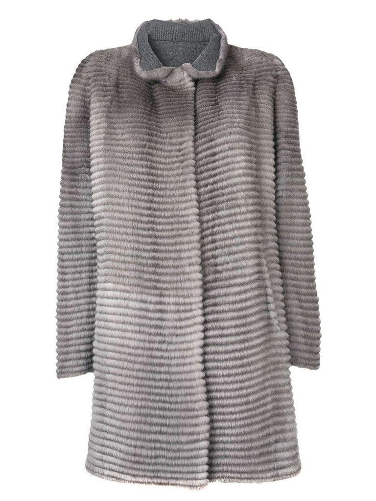 Liska striped textured coat - Grey