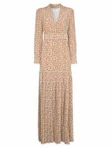 Rebecca De Ravenel daisy print silk maxi dress - Brown