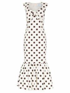 Rebecca De Ravenel polka dot bow detail maxi dress - White