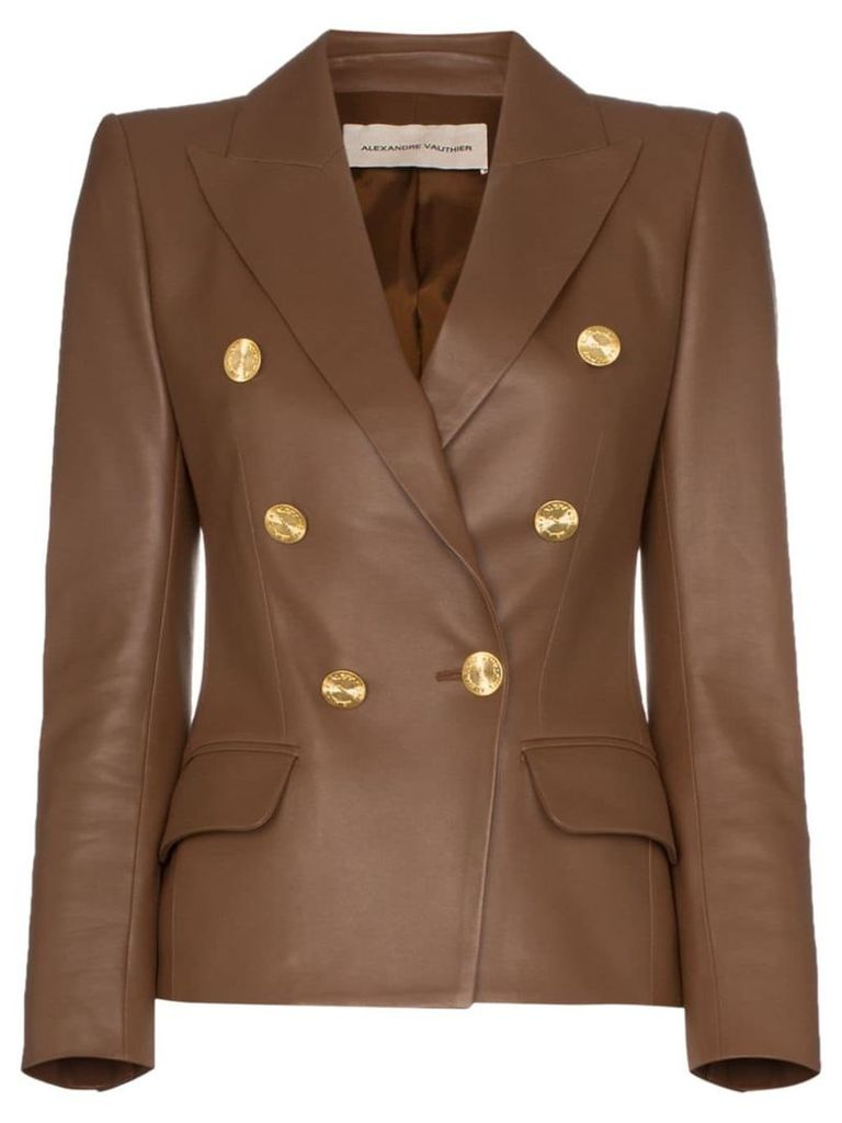 Alexandre Vauthier double-breasted leather blazer - Brown