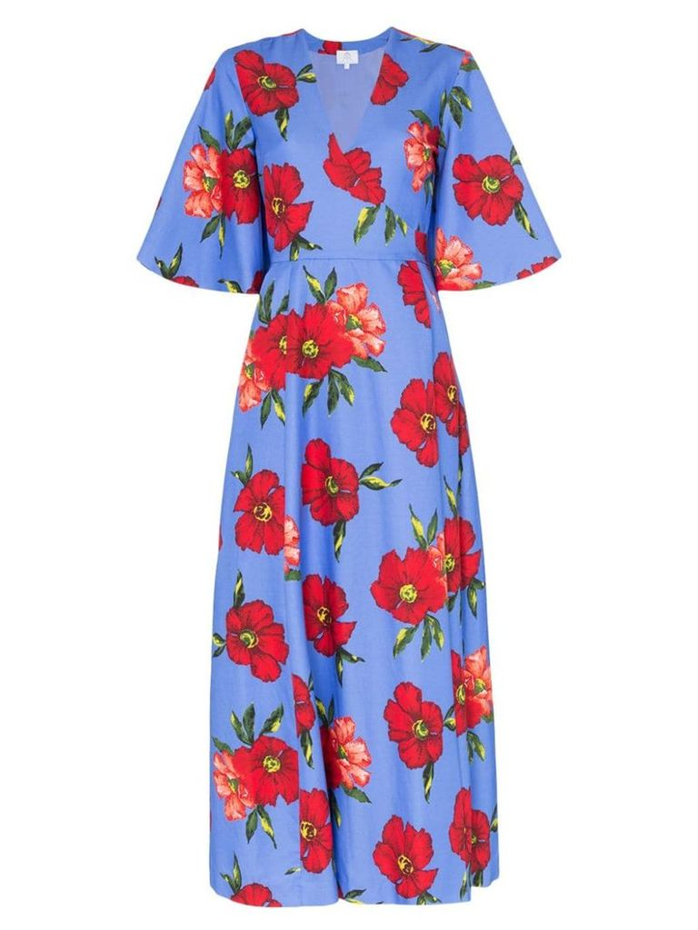 Rebecca De Ravenel floral print silk wrap dress - Blue