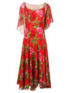 Richard Quinn rose printed long dress - Red