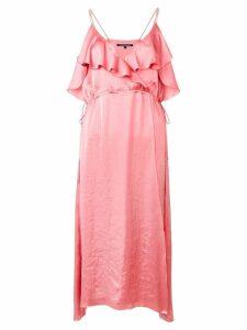 Luisa Cerano ruffled neck dress - Pink
