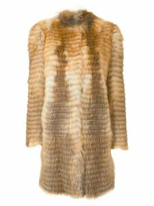 Liska striped textured coat - Brown