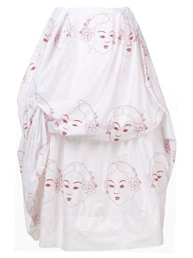 Simone Rocha Lady embroidered ruched skirt - White