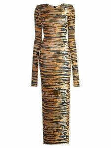 Alexandre Vauthier tiger print jersey dress - Brown
