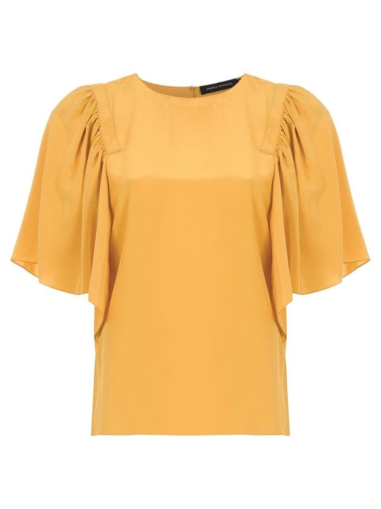 Andrea Marques ruffled silk blouse - Yellow