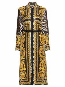Versace Silk Signature Print Dress - Multicolour