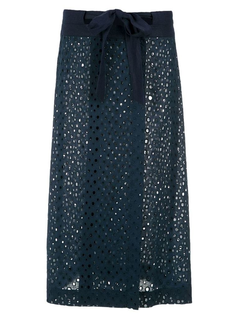 Adriana Degreas cut out midi skirt - Blue