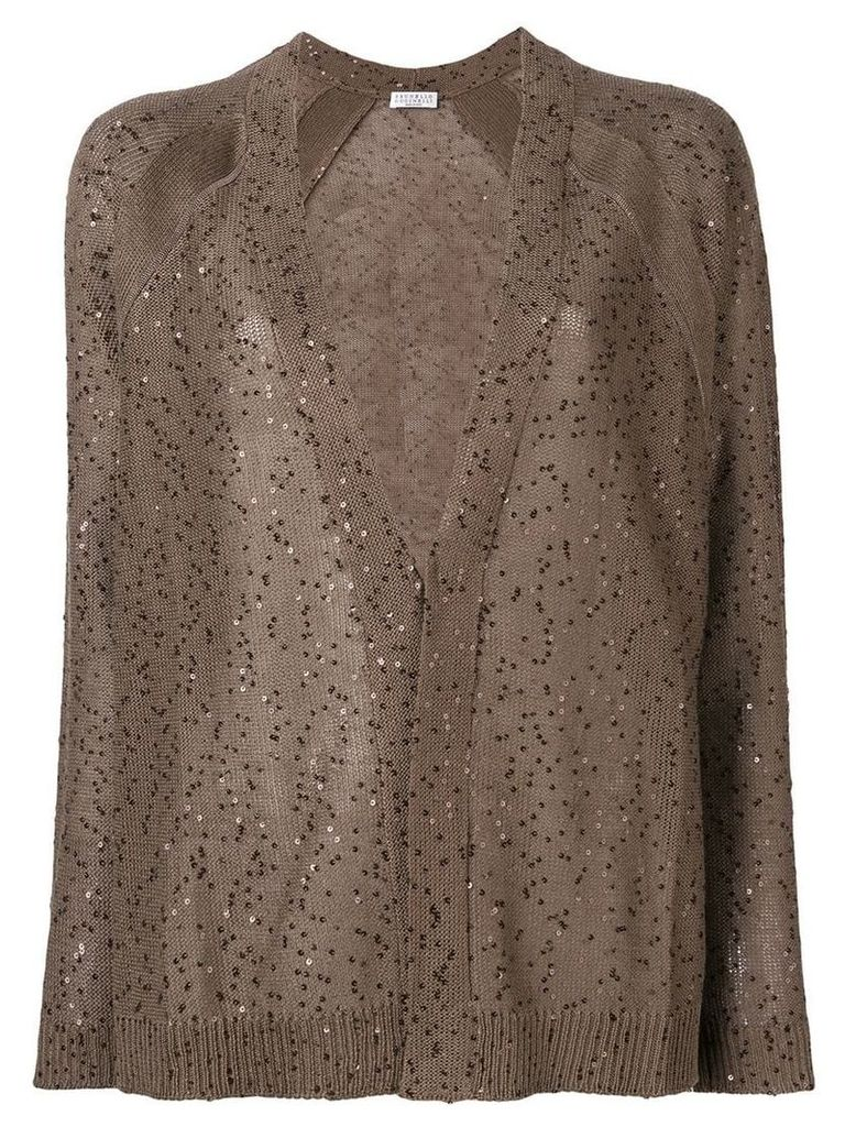 Brunello Cucinelli sheer cardigan with sequins - Brown