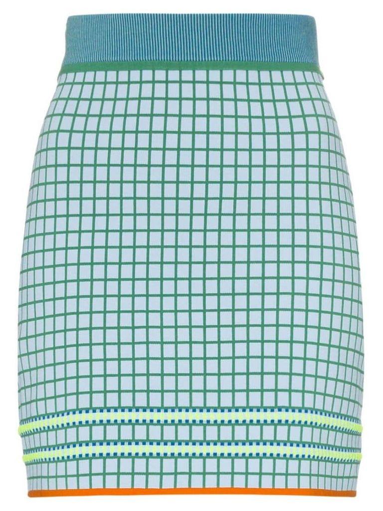 i-am-chen high-waisted checked skirt - Blue