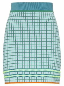 i-am-chen high-waisted checked skirt - Blue