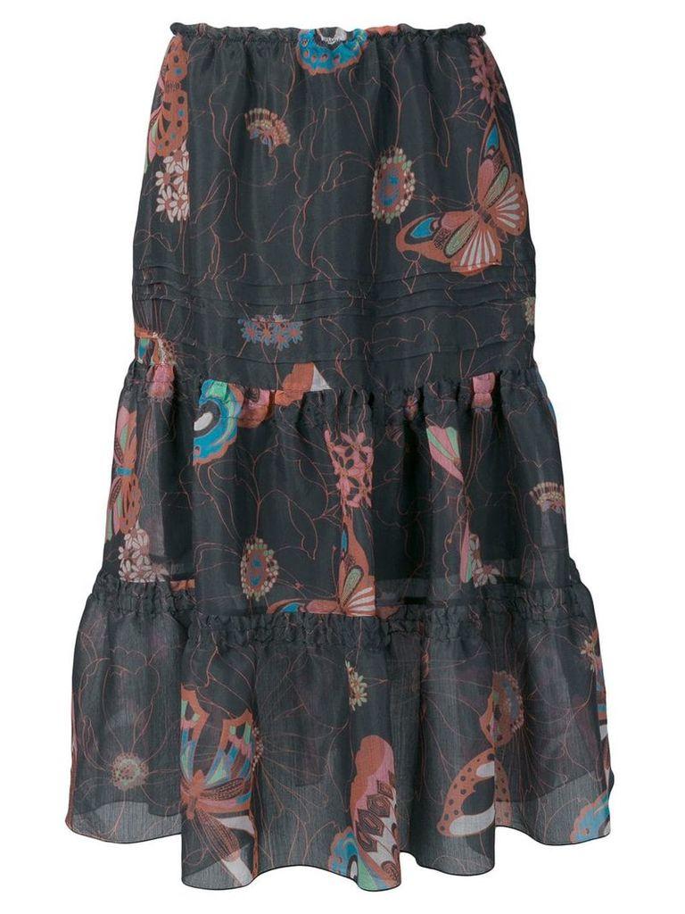 See By Chloé butterfly print ruffle skirt - Black