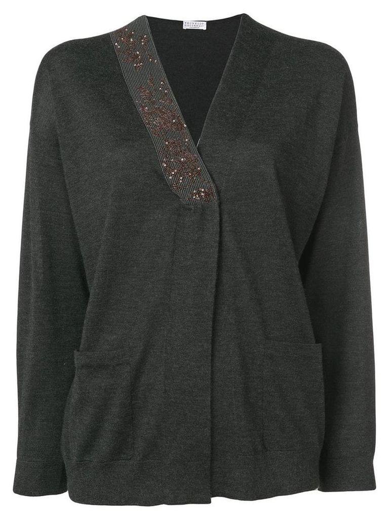 Brunello Cucinelli embellished cardigan - Grey