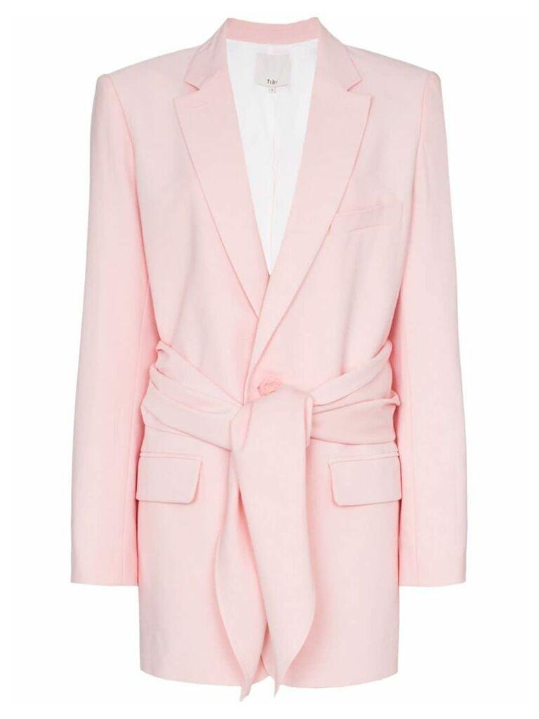 Tibi tie-front linen-blend blazer - Pink