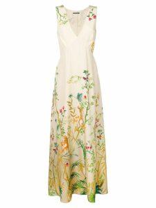 Alberta Ferretti floral print maxi dress - Neutrals