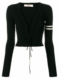 Ssheena lace-up ribbed sweater - Black