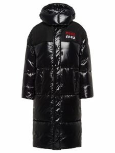 Miu Miu shiny puffer coat - Black