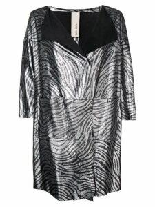Giorgio Brato metallic zebra print coat - Silver