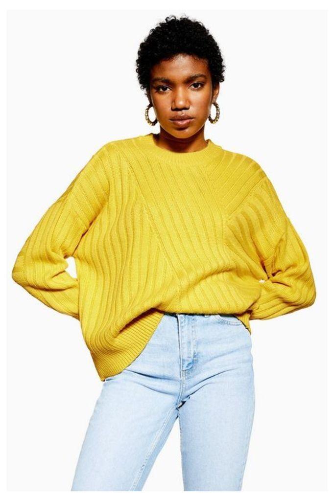 Womens Directional Ribbed Jumper - Mustard, Mustard