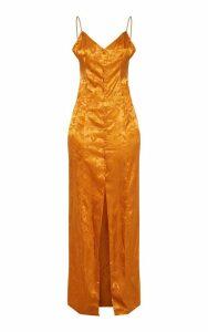 Mustard Jacquard Button Detail Maxi Dress, Mustard
