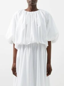 Gucci - Gg Monogram Pleated Cotton Blend Midi Skirt - Womens - Grey Multi