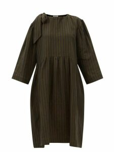 Alexander Mcqueen - Mesh Panel Jersey Midi Dress - Womens - Black