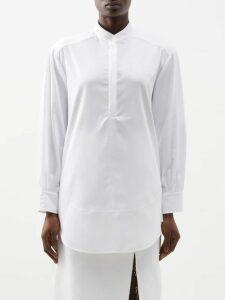 Rebecca De Ravenel - Polka Dot Print Cotton Poplin Midi Dress - Womens - White Multi