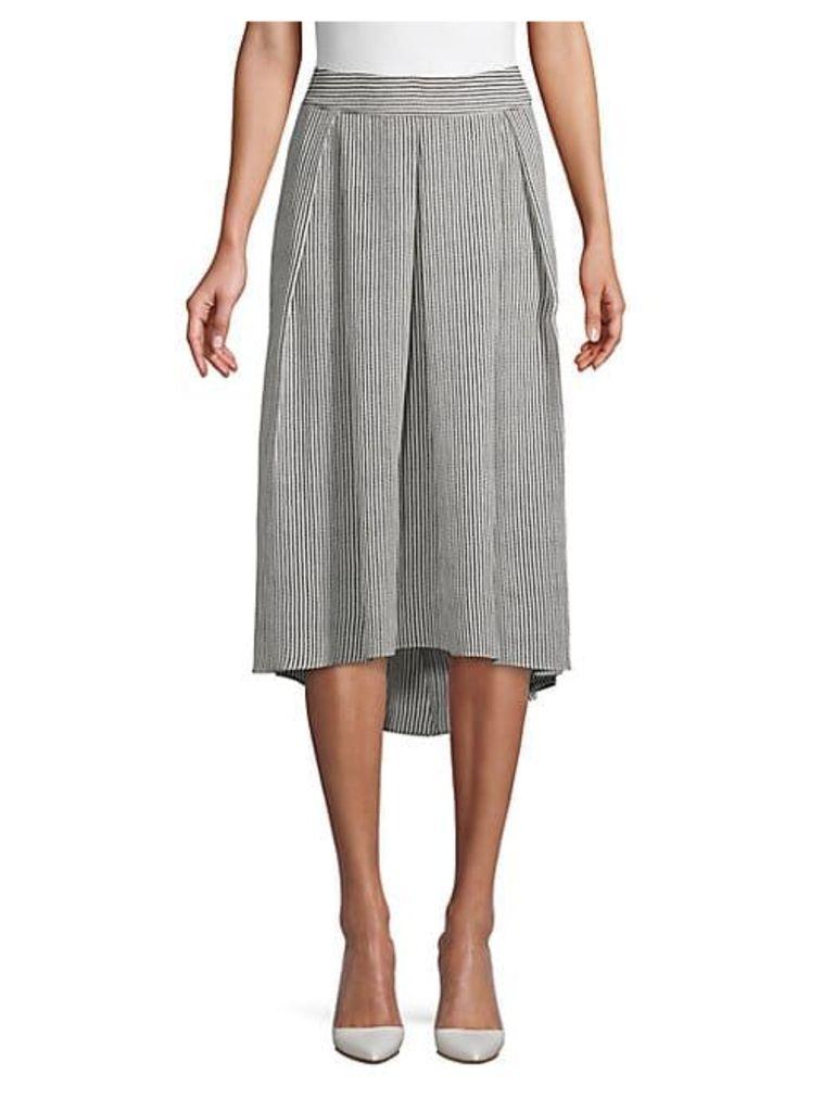 Striped Bubble Crepe Skirt