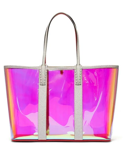 Christian Louboutin - Cabata Spike Embellished Iridescent Pvc Tote - Womens - Clear Multi