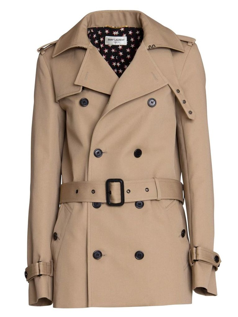 Saint Laurent Short Trench Coat In Beige